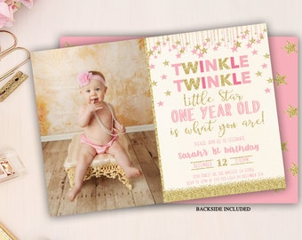 twinkle twinkle little star first birthday invitation, twinkle twinkle little star invitation, little star birthday invite, pink and gold