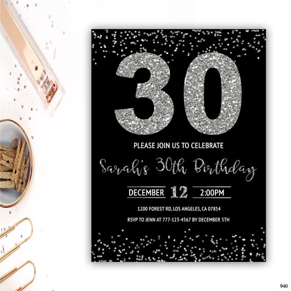 30th Birthday Invitation For Her Silver Glitter