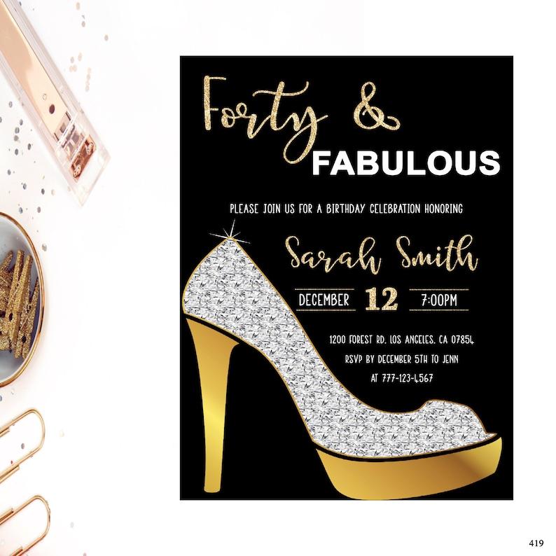 Del Diamante Y Fabulosa TalónZapatos Oro Invitación 40 40Cuarenta De Invitación Cumpleaños Glam O0knwP