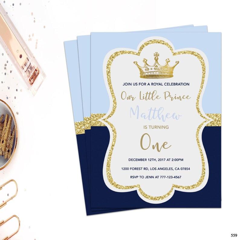 Prince Birthday Invitation Boy Birthday Invitation Blue And Etsy