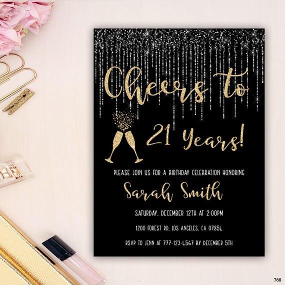 21st Birthday Invitation Birthday Party Invitation Champagne Etsy