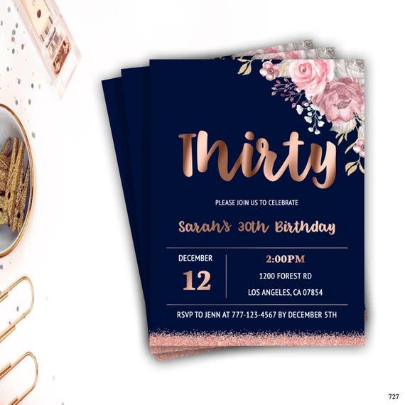 30th birthday invitation milestone birthday rose gold etsy