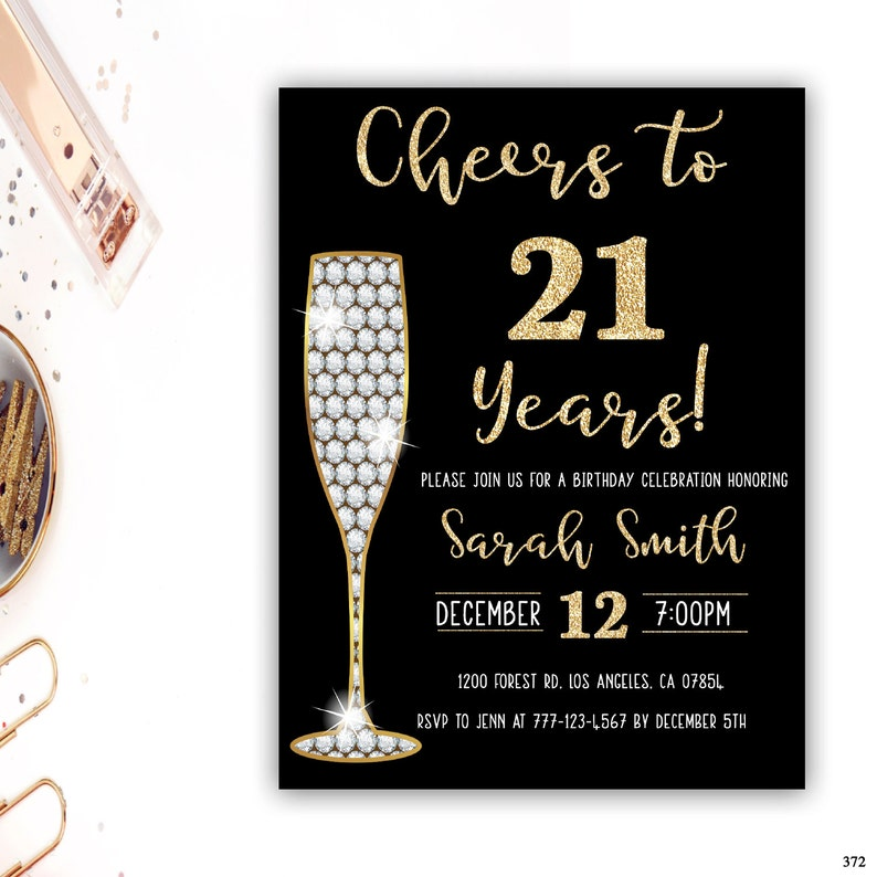 21st Birthday Invitation Gold Glitter Glam Surprise Champagne Party Any Age