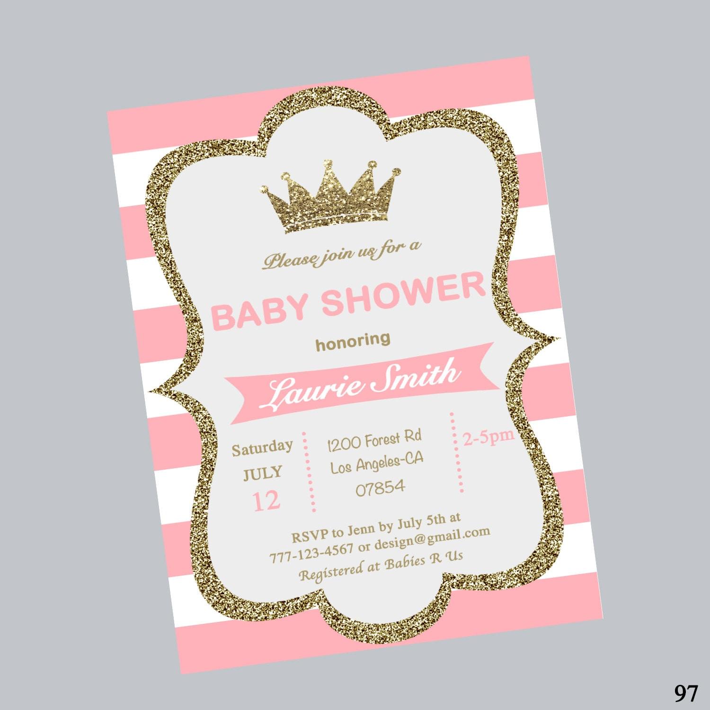 Baby Shower Crown Invitationshower Invitestripepink And Etsy