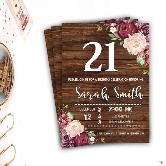 21st Birthday Invitation For Women Rustic Invite