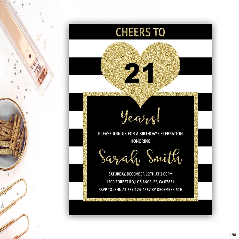 21st Birthday Invitations Adult Black And Gold Party