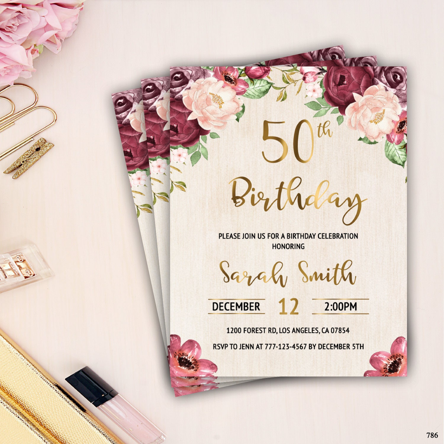 50th birthday invitation female adult birthday invitation etsy zoom izmirmasajfo