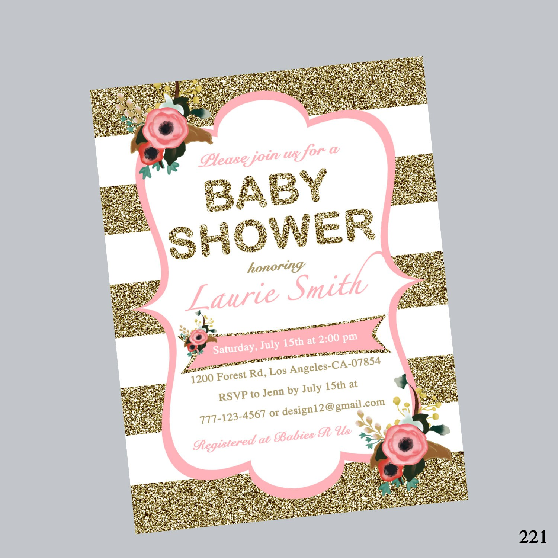 Einladung zur Babyparty Mädchen Dusche einladen Streifen   Etsy