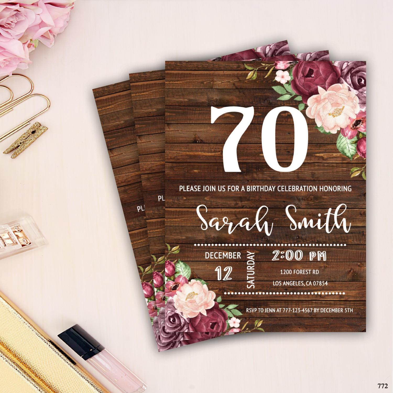 70th Birthday Invitation For Women Rustic Birthday Invite Etsy
