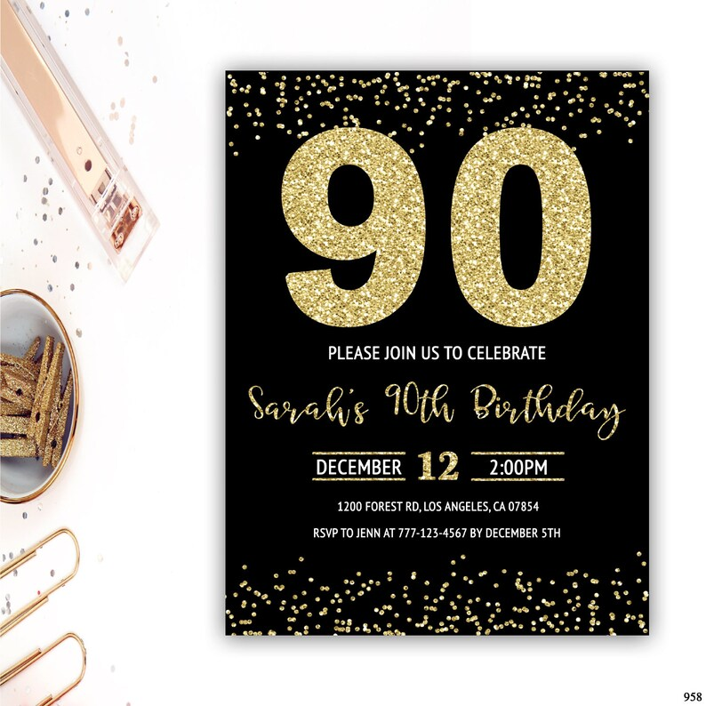 90th Birthday Invitations Party Invite Gold