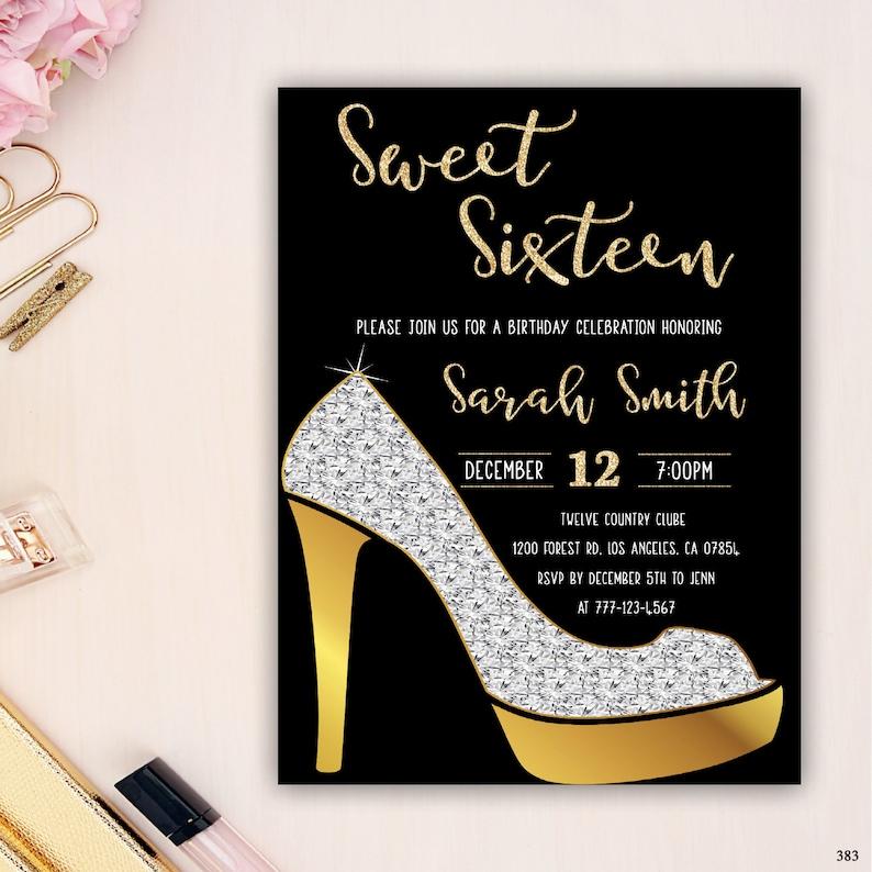 Glam Sechzehn 16GeburtstagseinladungSüße Heel Diamant Schuhe Glitter Gold EinladungHigh LqR4jc35A