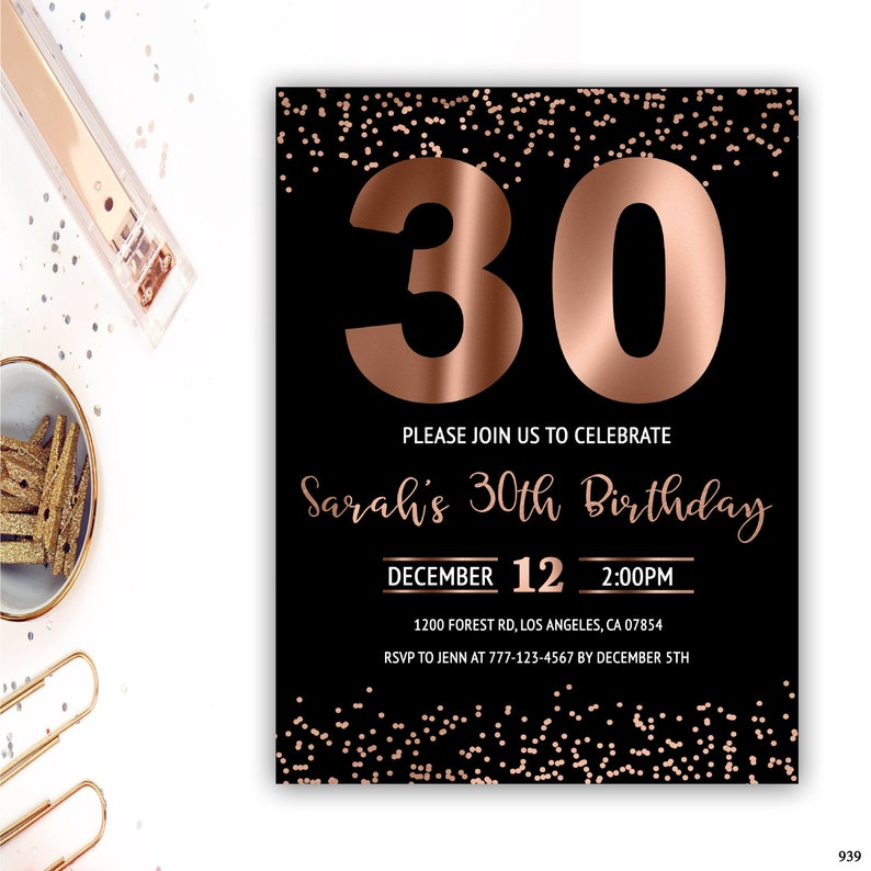 30th Birthday Invitation For Her Rose Gold