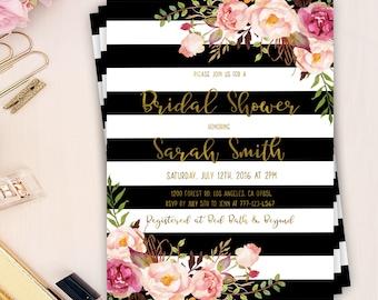 bridal shower stripes invitation, floral peony invitation, bridal party, flower peony invites, template bridal shower, shower invitation