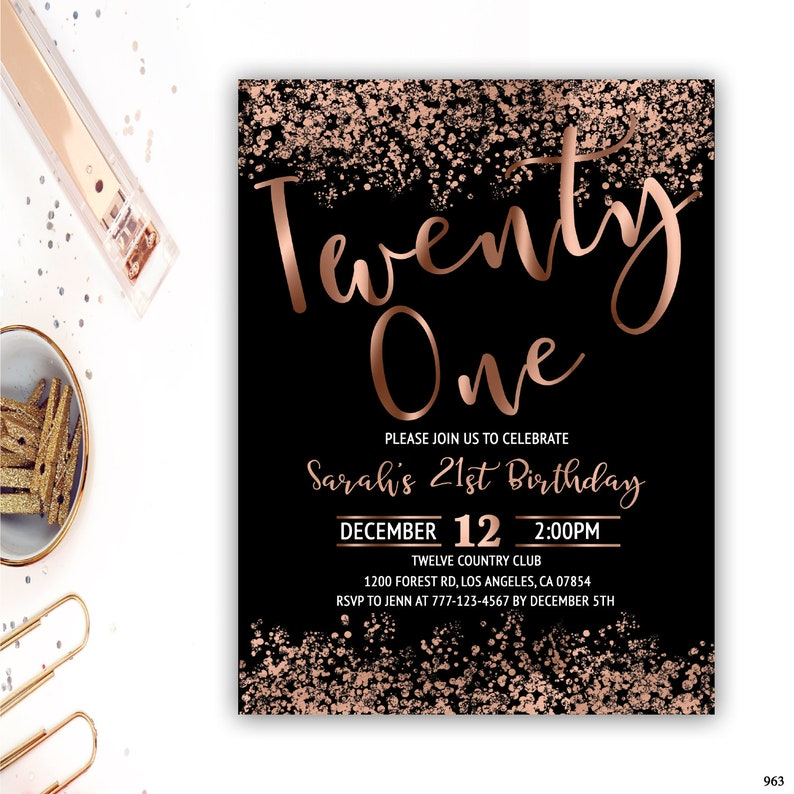 21st Birthday Invitation Rose Gold