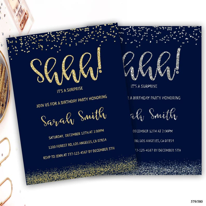 Shhh Its A Surprise Birthday Invitation Gold