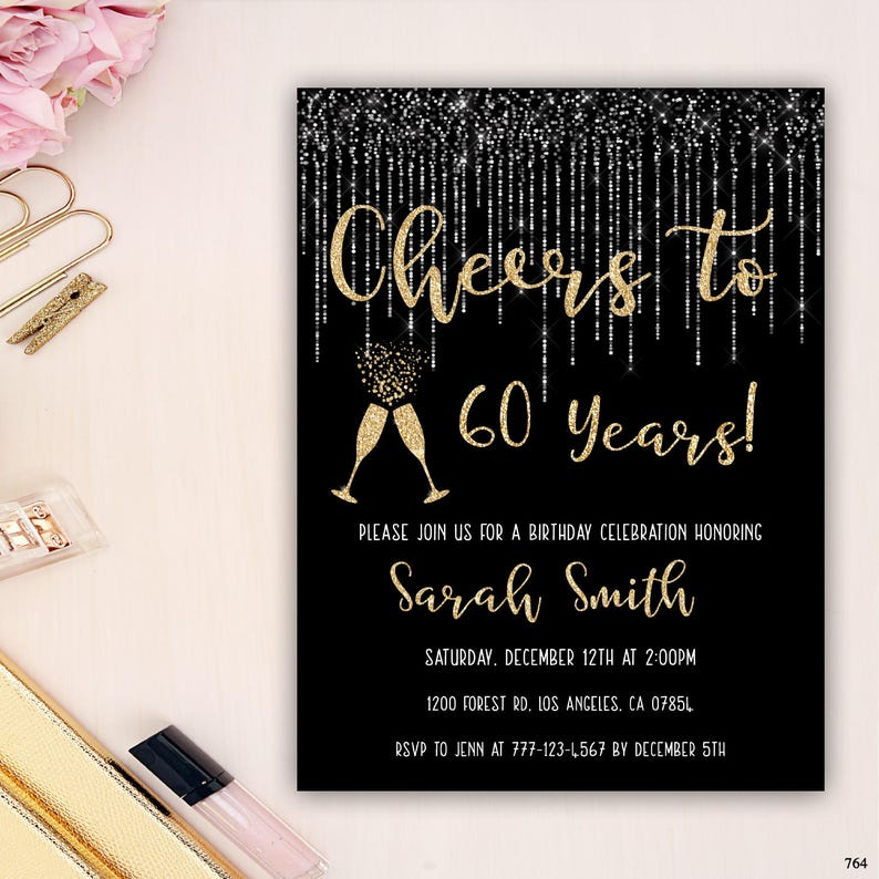 60th Birthday Invitation Party Champagne