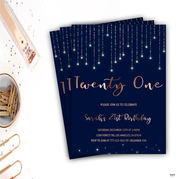 21st Birthday Party Invitation Milestone Invite