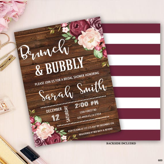 803801e65558 brunch and bubbly bridal shower invitation rustic floral