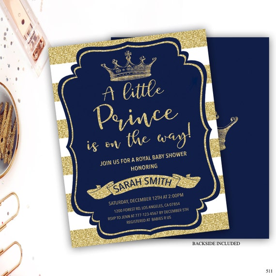 Little Prince Baby Shower Invitation Crown Invitation Baby Etsy