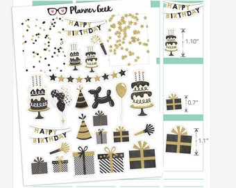 Black and white birthday planner stickers - glossy decorative planner stickers