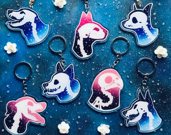 """Pet Skull 3"""" Acrylic Charm Keychain // Gifts for Cat, Dog, Parakeet Lovers // Pet Loss"""