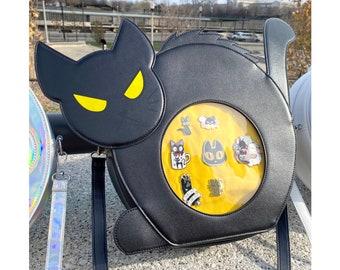 Black Cat Ita Bag // Crossbody Bag , Messenger Bag, Backpack // Pin Bag, Clear Bag