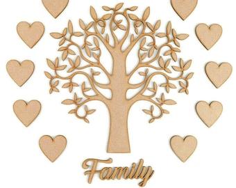 Family Tree Set Laser Cut Wooden Craft Blank Shape Wedding Guestbook Art Apple