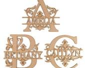 Personalised Wooden MDF Monogram Letters Craft Blank Shape Wedding Guestbook