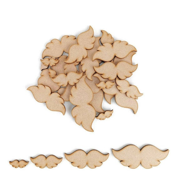 3mm MDF Wooden Laser Cut Shapes Various Sizes Angel Wings
