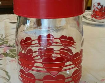 "Lovely Vintage ""Carlton Glass USA"" Loving Hearts glass container with lid"