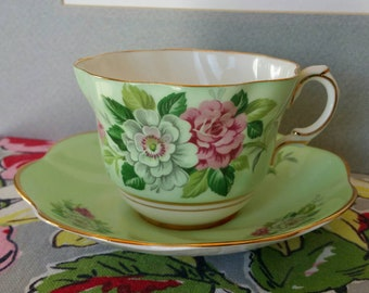 "Beautiful Elegant ""Rosina"" Mint Green Lovely White Pink Roses with Gold Trim Bone China tea cup saucer set England"