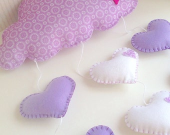 Soft decoration with clouds and hearts