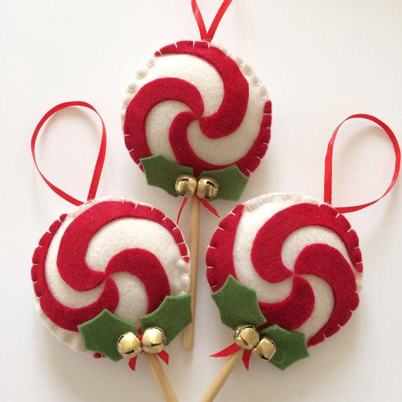 Lollipop Christmas Decorations.Lollipop Decorations For Christmas In Soft Felt And With Rattles