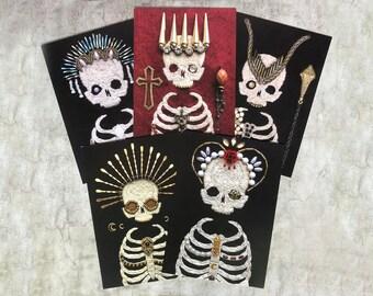 Set A - Set of 5 Postcard Prints Embellished Embroidered Skeletons 10.5cm x 14.8cm