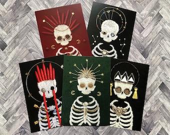 Set B - Set of 5 Postcard Prints Embellished Embroidered Skeletons 10.5cm x 14.8cm SET B