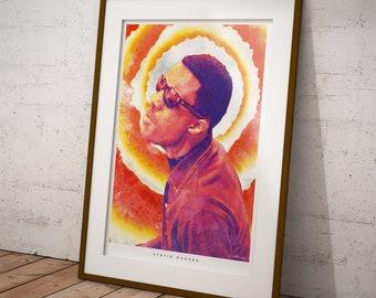 Stevie Wonder watercolour poster & print