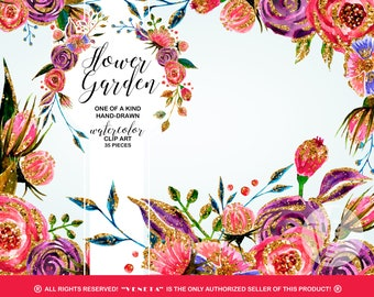 Watercolor Flowers ClipArt Collection Printable Gold Glitter Pink Roses Flower Bouquet Garden Bundle Wedding Bridal Shower Stickers Digi