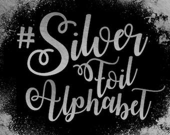 Silver Foil Alphabet ClipArt Silver Foil Letters Silver Font Silver Alphabet Silver Foil Number 83 Silver Foil Elements Instant Download
