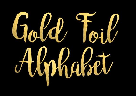 Gold Foil Alphabet Clip Art Gold foil Letters Gold Foil Font | Etsy