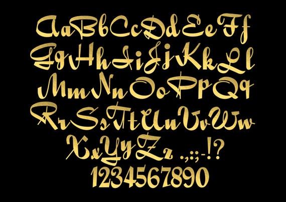 Goldfolie Kalligraphie Alphabet ClipArt Gold Folie Buchstaben ...