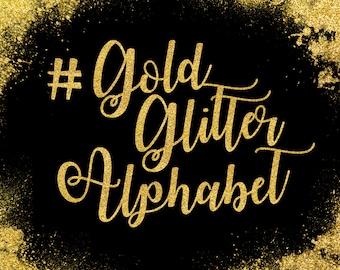 Gold Glitter Alphabet ClipArt Gold Glitter Letters Gold Font Gold Alphabet Gold Number Clip Art 83 Gold Glitter Elements Instant Download