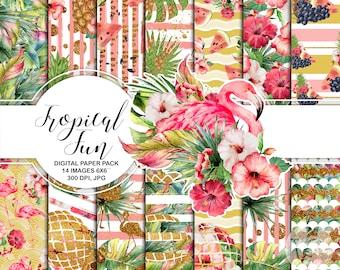 Tropical Fun Digital Paper Pack Aloha Hawaii Kit Printable Pink Flamingo Watermelon Pineapple Gold Glitter Flowers Fruits summer Pool Party