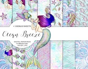 "Ocean Mermaids Digital Paper Pack Instant Download Printable Blue Purple Green Aqua Sea Star Sea Horse Fish Coral Dolphin Conch Mermaid 6x6"""