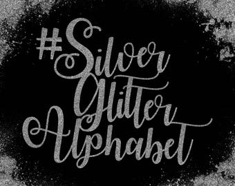 Silver Glitter Alphabet ClipArt Silver Glitter Letters Silver Font Silver Alphabet Silver Number 83 Silver Glitter Elements Instant Download