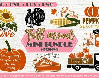 Fall mood MINI BUNDLE - 8 Designs | SVG, dxf, png, eps, Cutting files