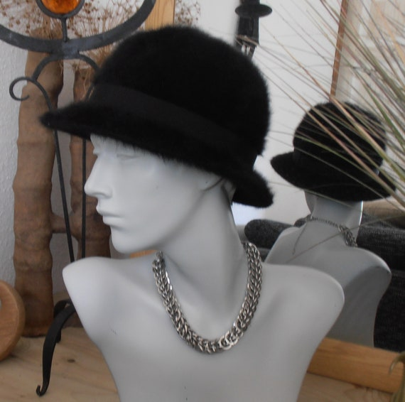Ladies Vintage Kangol Bucket Hat - Black Fugora B… - image 2