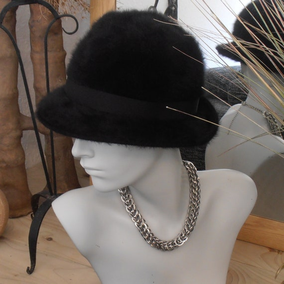 Ladies Vintage Kangol Bucket Hat - Black Fugora B… - image 1
