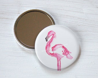 Pocket mirror 56mm - Pink flamingo