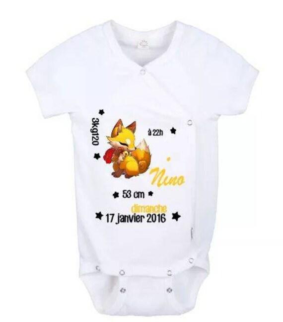 body bébé personnalisé naissance prénom taille poids impression flex flocage