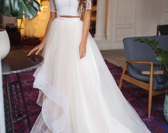 6744f177080af Tulle skirt wedding dress with horsehair trim